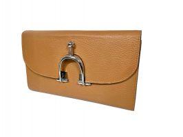 Кожаный женский клатч кошелёк Hermes 569 Apricot_1