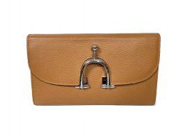 Кожаный женский клатч кошелёк Hermes 569 Apricot_2