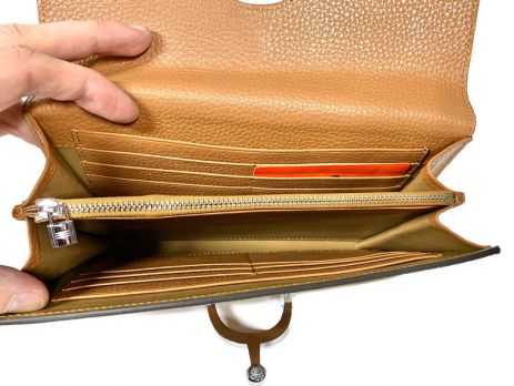 Кожаный женский клатч кошелёк Hermes 569 Apricot