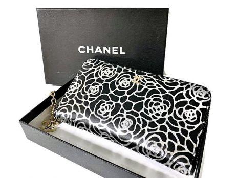 Кожаный женский кошелёк на молнии Chanel 1668