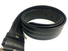 Ремень чёрный кожаный с прошивкой_1