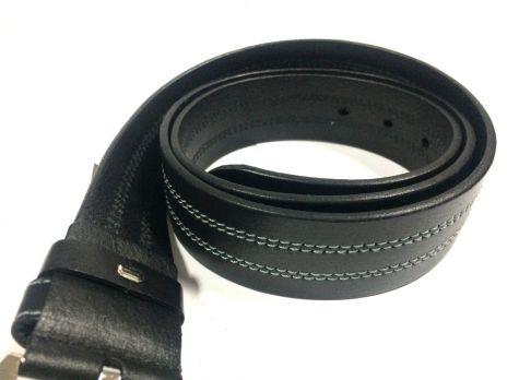 Ремень чёрный кожаный с прошивкой
