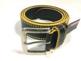 Кожаный ремень Diezz с жёлтыми нитками