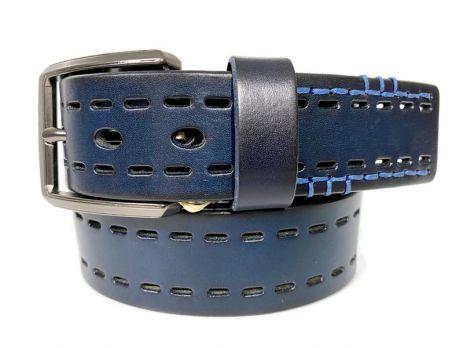 Ремень кожаный джинсовый т.-синий
