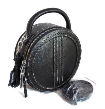 Женская кожаная круглая сумка APPLAUD 6900 BLACK