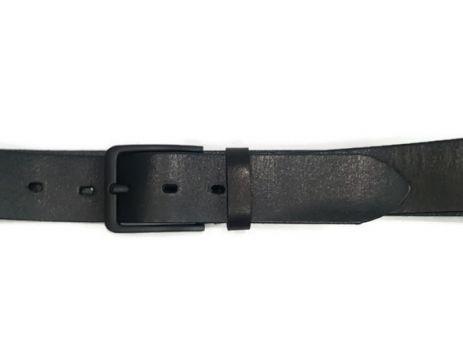 Ремень кожаный чёрный с матовой пряжкой