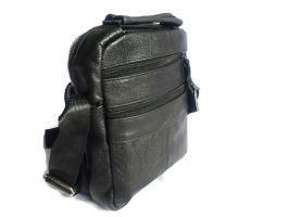Кожаная мужская сумка Black (сумка через плечо)_1