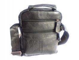 Кожаная мужская сумка Black (сумка через плечо)_3