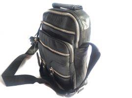 Кожаная мужская сумка Black (сумка через плечо)_2