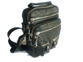 Кожаная мужская сумка Black (сумка через плечо)_0
