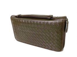 Клатч кожаный плетёный Bottega Veneta brown 354