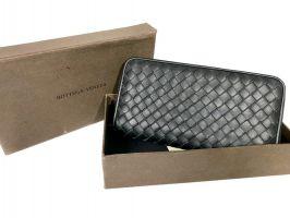 Клатч кожаный плетёный Bottega Veneta black 355_4