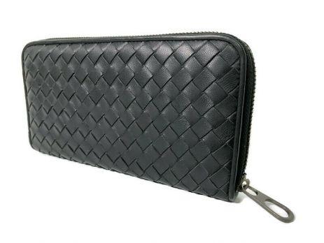 Клатч кожаный плетёный Bottega Veneta black 355