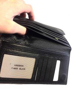 Кожаный мужской клатч Hassion 17-6608 black