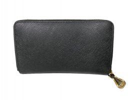 Кожаный женский клатч-кошелёк на молнии Moschino black_1