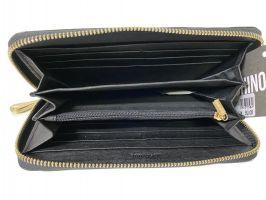 Кожаный женский клатч-кошелёк на молнии Moschino black_3