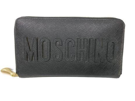 Кожаный женский клатч-кошелёк на молнии Moschino black