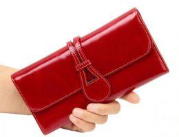 Кожаный женский кошелек Hassion 6129 красный_3
