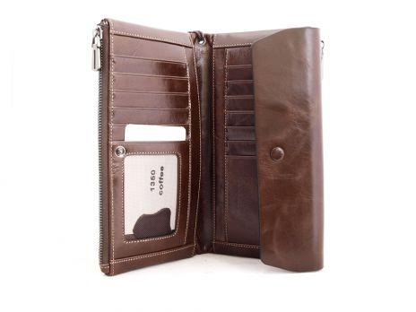 Кожаный женский кошелек Hassion 1350 coffee
