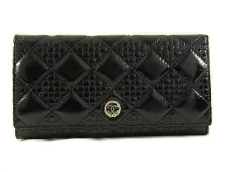 Кожаный кошелек женский CHANEL 1799-12 Чёрный