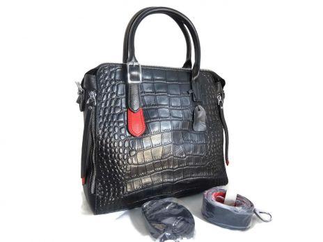 Женская кожаная сумка под рептилию Applaud 2101 black
