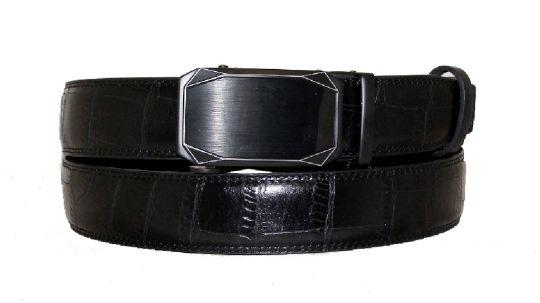 Ремень автомат кожаный под рептилию H-850060 Black