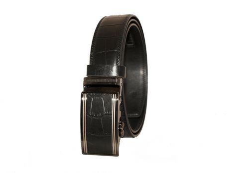 Брючный кожаный ремень под рептилию T-850034 black