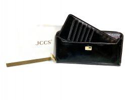 Кожаный женский клатч-кошелек JCCS 3052 black с визитницей_6