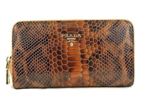 Кожаный женский кошелёк на молнии Prada 27-025 Coffee
