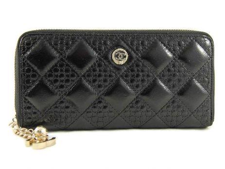 Кожаный женский кошелек на молнии CHANEL 1799-13 Black