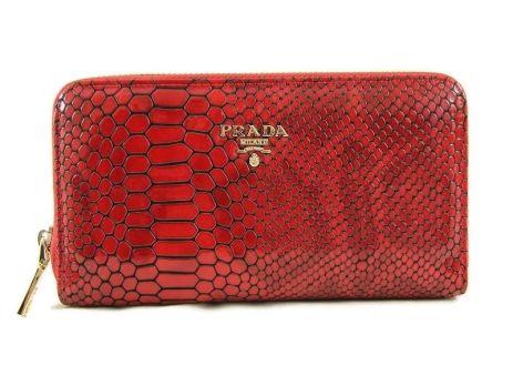 Кожаный женский кошелек на молнии Prada 27-025 Red reptile