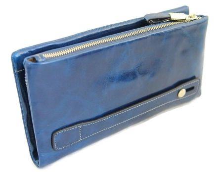 Кожаный женский клатч-кошелек на молнии 1519 Blue