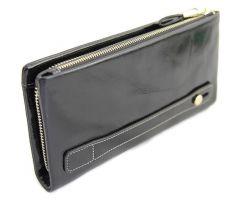 Кожаный женский клатч-кошелёк на молнии 1519 Black_1