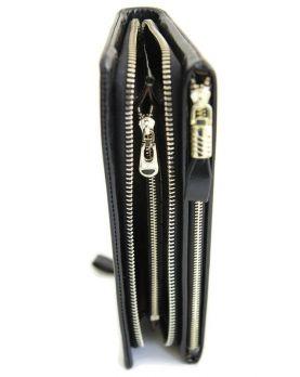 Кожаный женский клатч-кошелёк на молнии 1519 Black