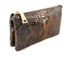 Женская сумочка-клатч Prada reptile 27-010 brown