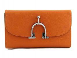 Женский кожаный кошелёк Hermes 569 Orange