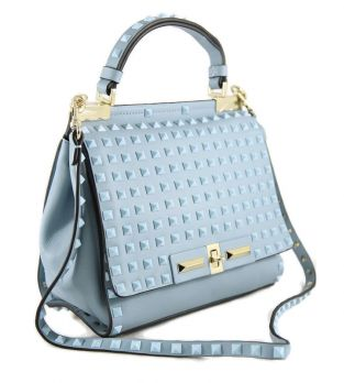 Женская кожаная сумка Valentino VL 48714 L.Blue (голубой)