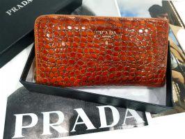 Кошелек женский кожаный на молнии Prada P29-025 Coffee_0