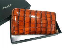 Кошелек женский кожаный на молнии Prada P29-025 Coffee_1