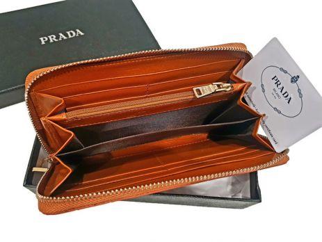 Кошелек женский кожаный на молнии Prada P29-025 Coffee