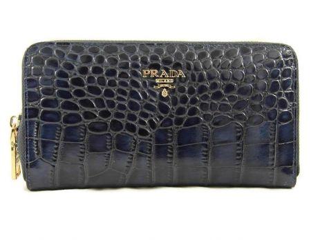 Кошелек кожаный женский на молнии Prada P29-025 Blue