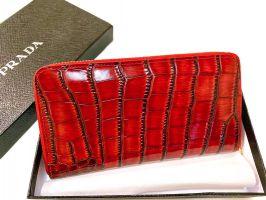 Кошелек кожаный женский на молнии Prada P29-025 Red_1
