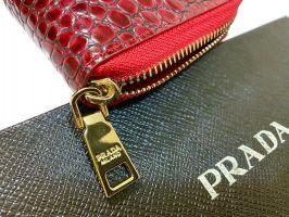 Кошелек кожаный женский на молнии Prada P29-025 Red_3