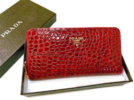 Кошелек кожаный женский на молнии Prada P29-025 Red