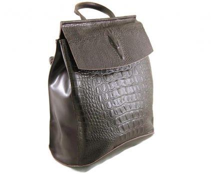 Рюкзак женский кожаный крокодил NN 8504-7 Brown