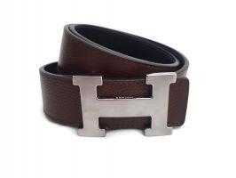 Кожаный ремень Hermes двустороний brown
