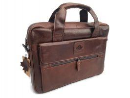 Мужская кожаная сумка-портфель Canada Brown_0