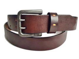 Ремень кожаный Boss brown с двумя язычками