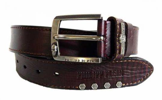 Ремень кожаный Philipp Plein Bordo