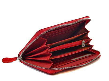 Женский кожаный кошелёк-клатч Petek 5093 красный